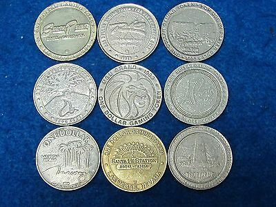 .Obsolete Vintage World $1 casino gaming tokens (lot of 9)