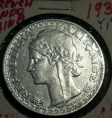 1931 A French Indo-china 1 Piastre silver coin KM-19 Rare  coin.