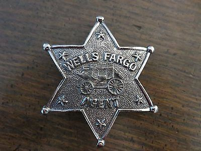 Vintage OFFICIAL WELLS FARGO AGENT COMMEMORATIVE 6-POINTED STAR BADGE PIN
