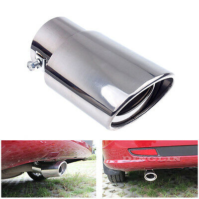 Oval Stainless Steel Cars Down Swept Exhaust Tail Pipe Trim Muffler Tip Screw On
