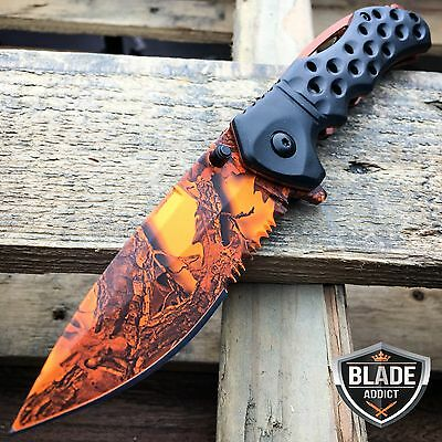 "8"" Hunting Camo Combat Tactical Spring Assisted Open Folding Pocket Knife -e"