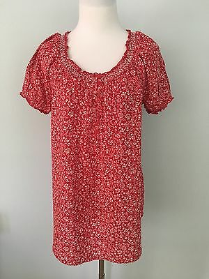 Faded Glory Red & White Print Short Sleeve Rayon Tunic Top Women's Size M