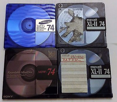 4x TOP QUALITY MD-74 AUDIO MINIDISCS - 74 MINUTES - IN BOXES VARIOUS BRANDS USED