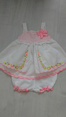 next baby girls 100% cotton white summer dress and pants ip to 10lb