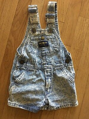 Vintage OshKosh B'Gosh Vestbak Kid Striped Short Bib Overalls 2T Train Engineer