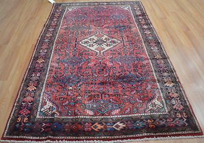 4'6 x 7'5 Plush Pile Authentic Persian Hamadan Tribal Hand Knotted Wool Area Rug