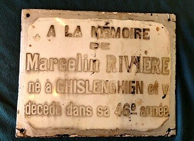 Vintage French Porcelain Sign - Early 1900's Memorial Plaque