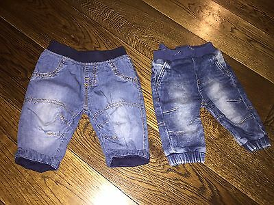 2 Pairs Of Boys Jeans 0-3 Month Next And George