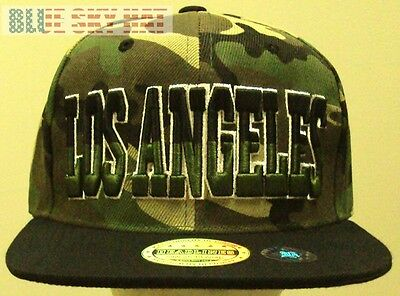 New Embroidered La Los Angeles City County Woodland Camo Black Cap Hat Snapback