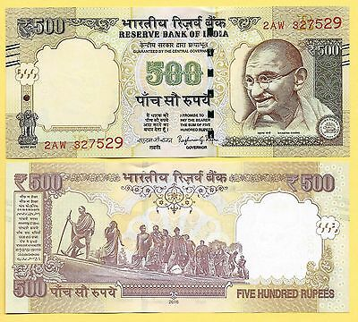 India 500 Rupees p-106 2016Letter R  UNC Banknote