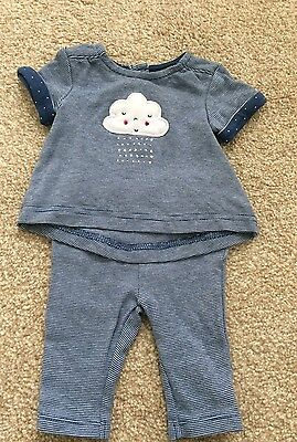 Cute Baby Girl Mothercare Cloud Top and Leggings, Up To 1 Month