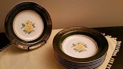 Set of 4 Homer Laughlin  Yellow Rose with Green Border, 22 kt Gold Soup Bowls