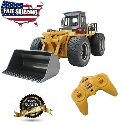 Fistone Electric RC Truck Loader Tractor Radio Remote Control 4 Wheel Bulldozer