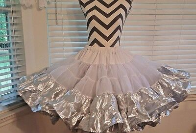 """Petticoat Silver Lame' 21"""", Stepping Out,by Rhythm Creations Square Dance/ Clog"""