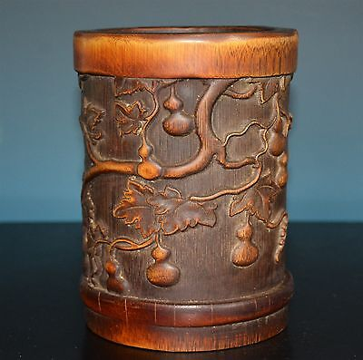 Fine Chinese Bamboo Brush Pot Well Carved Rare C9262
