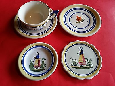 5p HENRIOT QUIMPER FAIENCE POTTERY FRANCE FRENCH PEASANT COFFEE CUP SAUCER PLATE