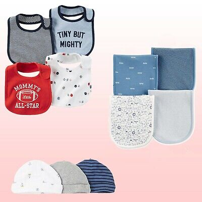 NWT Carter's Baby Boy Or Girls' 3-Pack Caps, 4-Pack Bibs