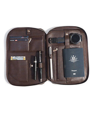 Brown Leather Travel Accessories Organiser & Travel Wallet