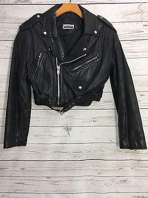 Vintage 80s Contempo Casuals Cropped Leather Jacket Black Zippers Cropped Sz Med