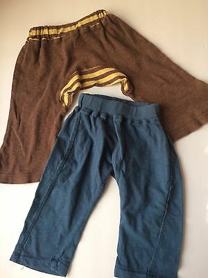 Monkey Pants Lot 2 Pairs 3-6 Months And 6-12 Months Pull Up Pants 100% Cotton