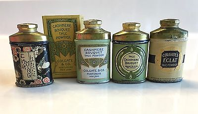 Antique Miniature Advertising Tin Talcum Powder Sample Lot  **Colgate**