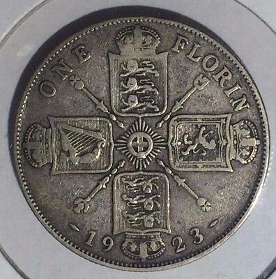 GREAT BRITAIN, 1923,  ONE FLORIN,  SILVER,  KM#817A,  Midgrade
