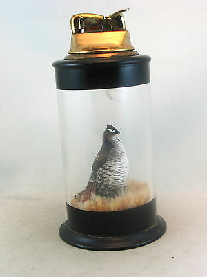 """Evans table lighter with grouse in a round glass """"showcase"""" - bird, hunting"""