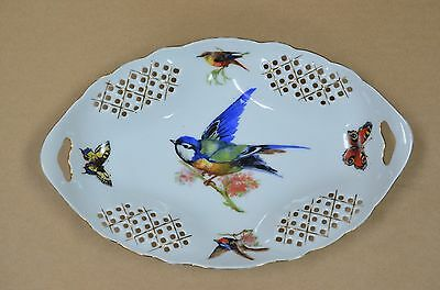 Lovely Antique Victoria China Bluebird & Butterfly Pattern Lattice Work Dish
