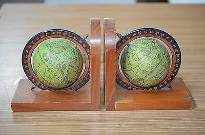 PAIR OF VINTAGE 1960s WORLD GLOBE BOOKENDS