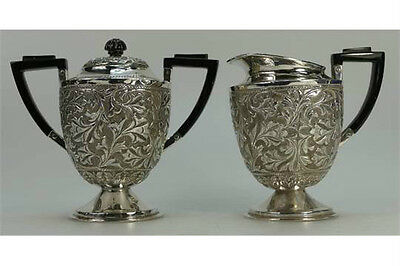 Asian Silver two handled covered sugar bowl and milk jug, both with ebony handle