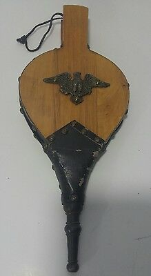 Vintage Fireplace Bellows W/Eagle Crest Hearth Woodstove Tool Wood & Leather