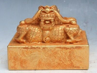 Chinese Exquisite Hand-carved Dragon carving copper Gilt statue seal