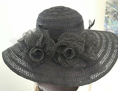 BEAUTIFUL Black Roses Church Hat Kentucky Derby Feathers Sun hat