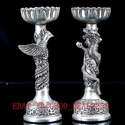 Old Silve Copper Hand Carved  A Pair of Dragon & Phoenix Candlestick  BT094