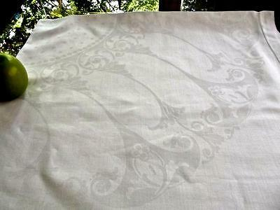 "Antique White Damask Nouveau Scrolls Linen 45""Sq Tablecloth Topper Hemstitched"
