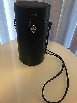 """Vintage Nikon Leather Camera Lens Case 10"""" X 5"""" Cool Case With Handle"""