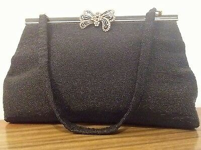 Vintage French ladies handmade black beaded evening handbag - Charbet