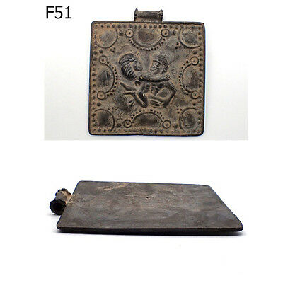 Very Old Pre Medieval Roman Art Amed and Nina Erotic Bronze Pendant #F51
