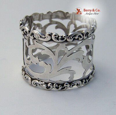 Baroque Scroll Napkin Ring Cut Work Whiting 1908 Sterling Silver No Monogram