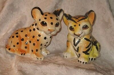 Adorable Tiger & Leopard Cub Ceramic Figurines Shafford Japan Mid-century SALE!
