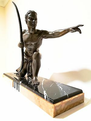 """Large French Art Deco Sculpture Statue Nude Male """"The Hunter"""" URIANO"""