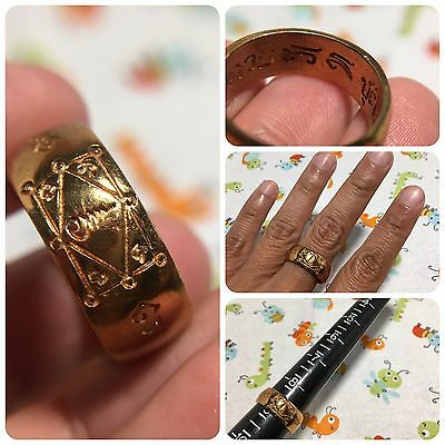 Cute Ring Maha Yant Lp Kuay Thai Buddha Amulet Luck Rich Charm Protect Size 9.