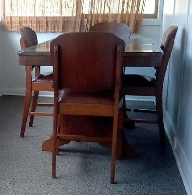 Vintage Art Deco Dining Table with 4 Chairs