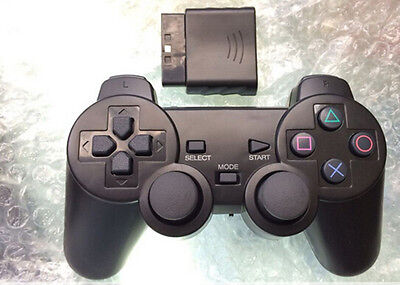New Black Wireless Shock Game Controller for Sony PS2  ATAU