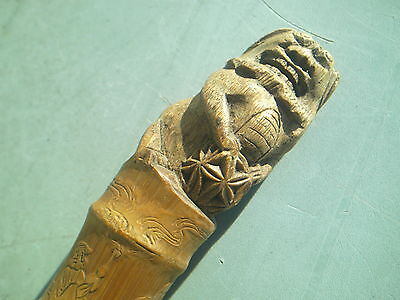 Antique Quality Chinese Foo Dog Carved Bamboo Walking Stick  Staff