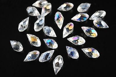 50Ps Clear AB Crystal Glass Faceted Teardrop Pendant 6x12mm Loose Jewelry