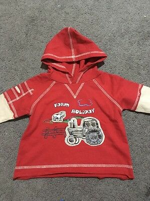 Baby Boys Red Hooded Long Sleeved Jacket Size 0 EUC