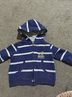 Baby Boys Long Sleeved Blue Hooded Zip Up Jacket Size 3-6 Months EUC