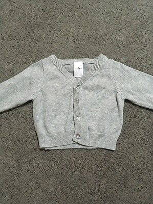 Baby Boys Long Sleeved Grey Knit Button Up Cardigan Size 00 EUC