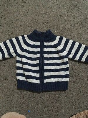 Baby Boys Long Sleeved Grey Striped Zip Up Knit Jacket Size 0-3 Months EUC